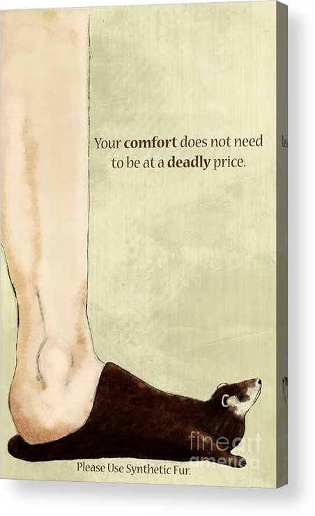 Animal Acrylic Print featuring the painting Anti-fur by Lara Ekblad