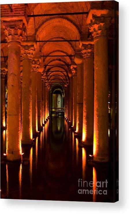 Basilica Cistern Photo Acrylic Print featuring the photograph Basilica Cistern by Leslie Leda