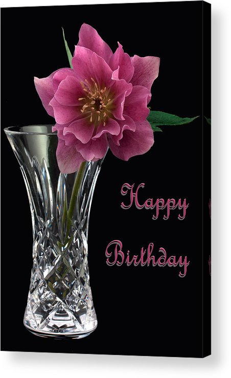 Hellebores Acrylic Print featuring the photograph Birthday Vase by Shirley Mitchell