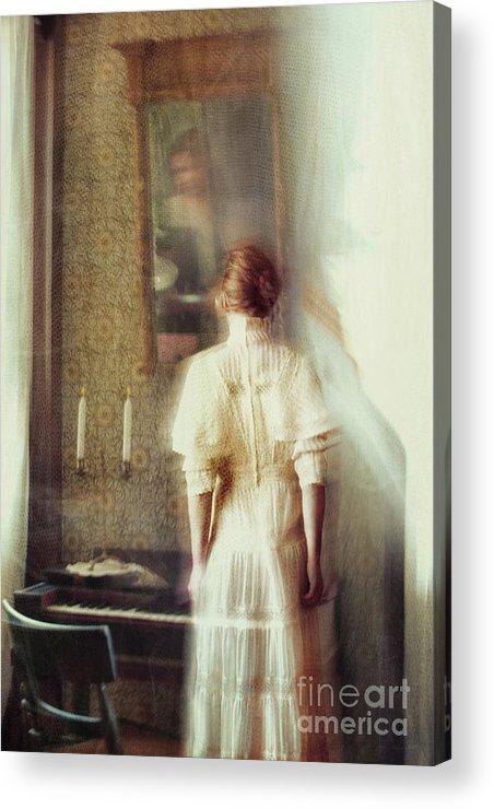 Atmosphere Acrylic Print featuring the photograph Blurry Image Of A Woman In Vintage Dress by Sandra Cunningham