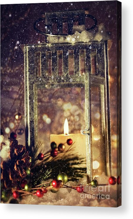 Background; Burn; Candle; Christmas; Cold; Color; Decoration; Evening; Fire; Glass; Holiday; Ice; Lamp; Lantern; Light; New; Night; Red; Season; Snow; Warm; Winter; Xmas; Year; Yellow; Santa; Claus; Snowy; Acrylic Print featuring the photograph Brightly Lit Lantern In The Snow by Sandra Cunningham
