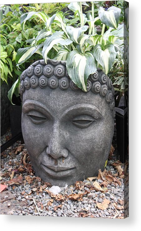Bust Of Buddha On A Hot Summer Day Acrylic Print featuring the photograph Buddha On A Hot Summer Island Day by Brian Sereda