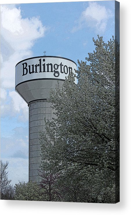 Water Tower Acrylic Print featuring the photograph Burlington by Bob Whitt