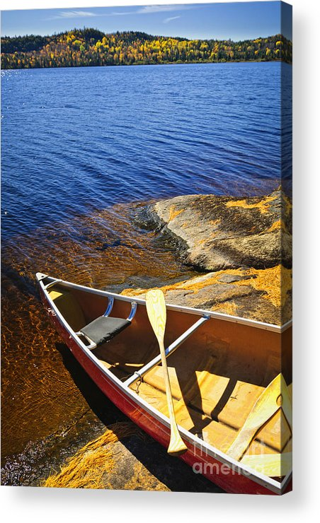 Canoe Acrylic Print featuring the photograph Canoe On Shore by Elena Elisseeva