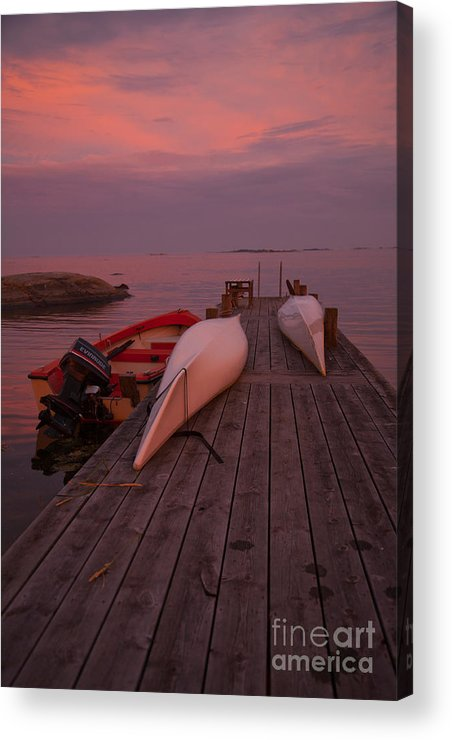 Europe Acrylic Print featuring the photograph Canoes On Jetty by Kathleen Smith