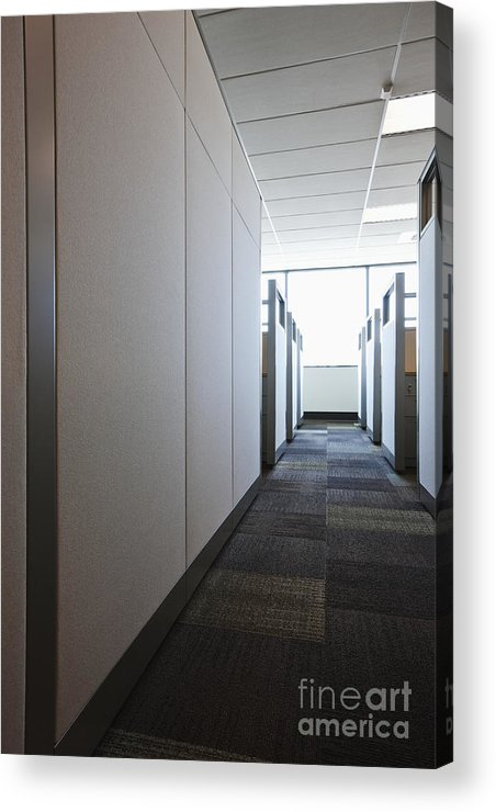 Aisle Acrylic Print featuring the photograph Carpeted Hall With Office Cubicles by Jetta Productions, Inc