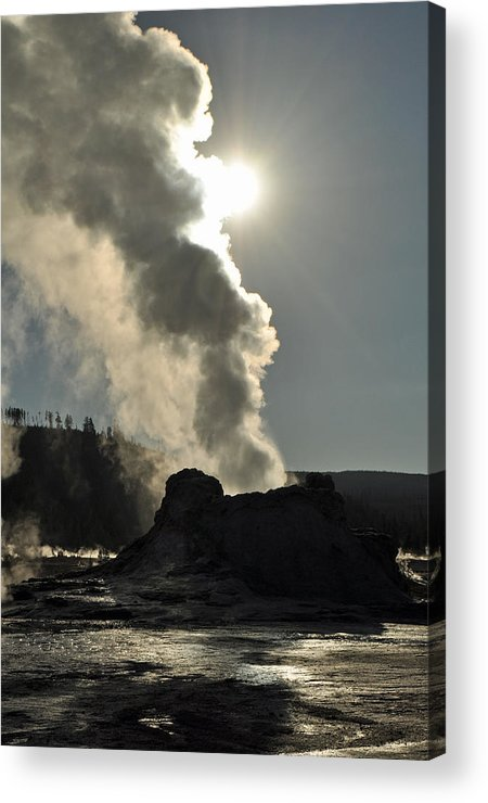 Yellowstone Acrylic Print featuring the photograph Castle Geyser Morning II by Bruce Gourley