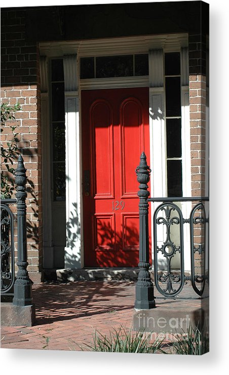 Charleston Red Door Acrylic Print featuring the photograph Charleston Red Door - Red White Black Door With Iron Gate Posts by Kathy Fornal