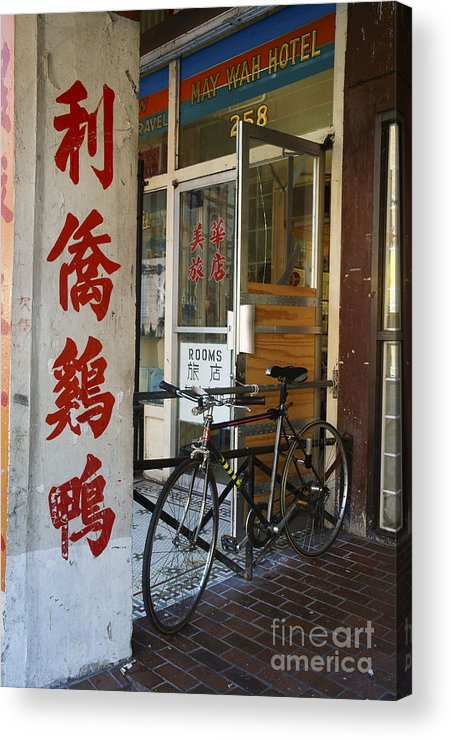 Vancouver Acrylic Print featuring the photograph Chinatown Bicycle Vancouver by John Mitchell