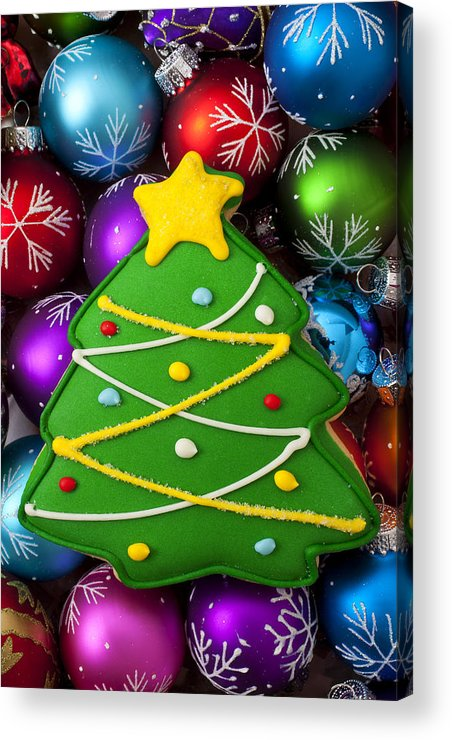 Colorful Ornaments Acrylic Print featuring the photograph Christmas Tree Cookie With Ornaments by Garry Gay
