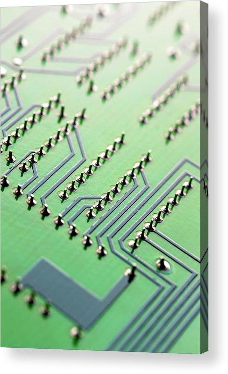 Vertical Acrylic Print featuring the photograph Circuit Board by Maria Toutoudaki