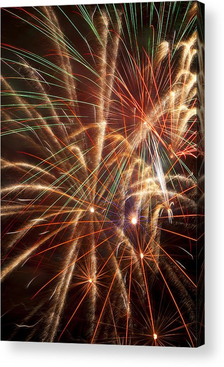4th Of July Acrylic Print featuring the photograph Colorful Fireworks by Garry Gay