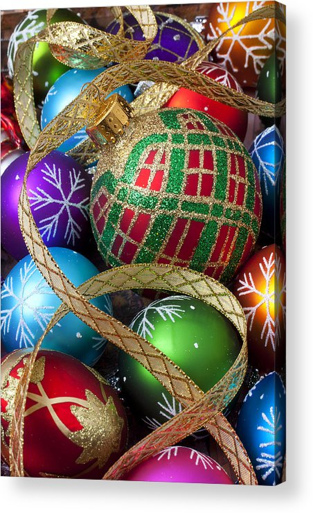 Colorful Ornaments Acrylic Print featuring the photograph Colorful Ornaments With Ribbon by Garry Gay