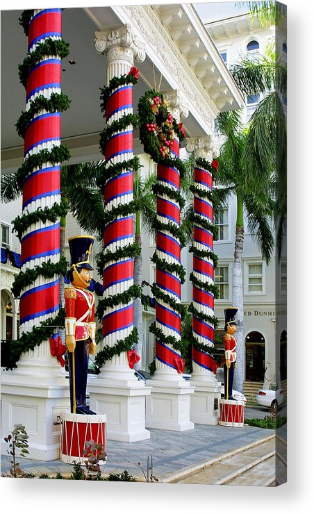 Travel Acrylic Print featuring the photograph Columns In Christmas Wrap by Linda Phelps