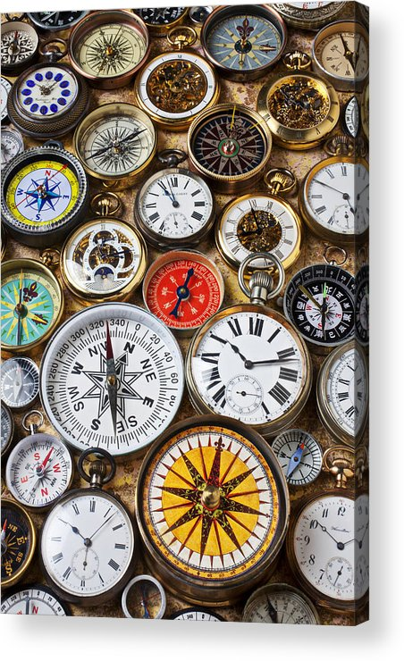 Watch Acrylic Print featuring the photograph Compases And Pocket Watches by Garry Gay