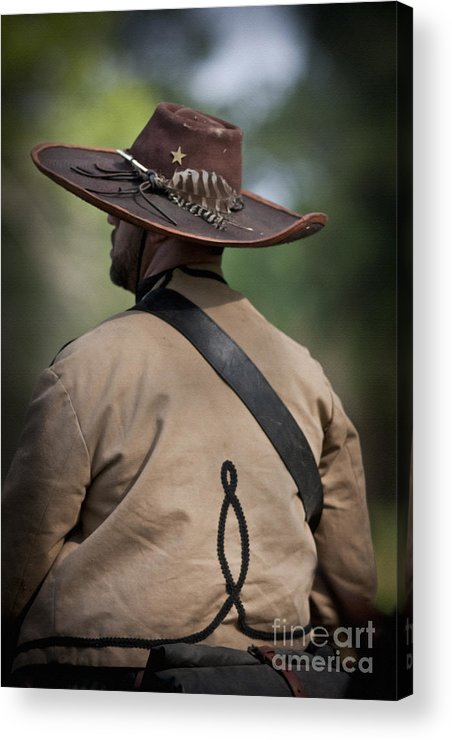 Reenactor Acrylic Print featuring the mixed media Confederate Cavalry Soldier by Kim Henderson