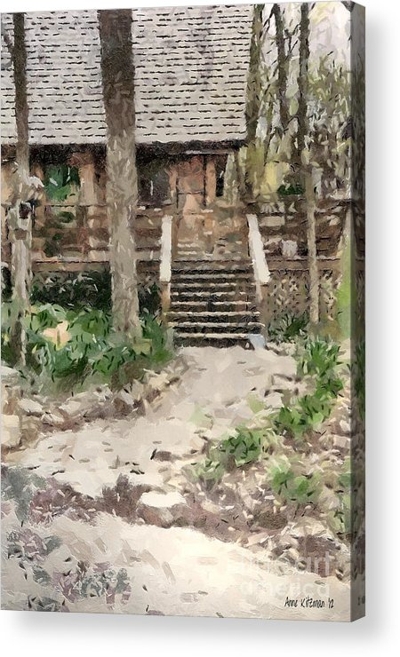Black Acrylic Print featuring the painting Cottage by Anne Kitzman