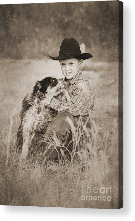 Cowboy Acrylic Print featuring the digital art Cowboy And Dog by Cindy Singleton