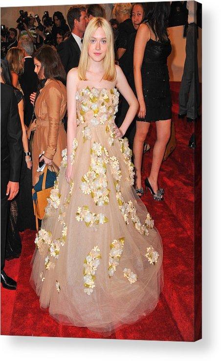 Dakota Fanning Acrylic Print featuring the photograph Dakota Fanning Wearing A Dress by Everett