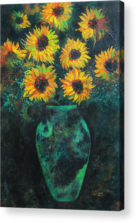 Sunflower Acrylic Print featuring the painting Darkened Sun by Carrie Jackson