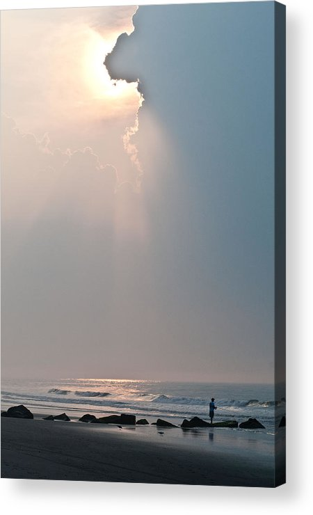 Beach Acrylic Print featuring the photograph Early Morning Fisherman by Mark Stein