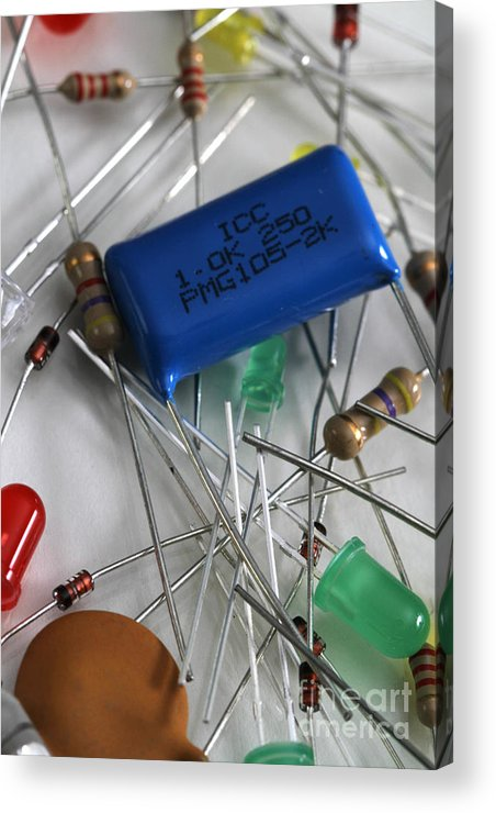 Capacitors Acrylic Print featuring the photograph Electronic Components by Photo Researchers, Inc.