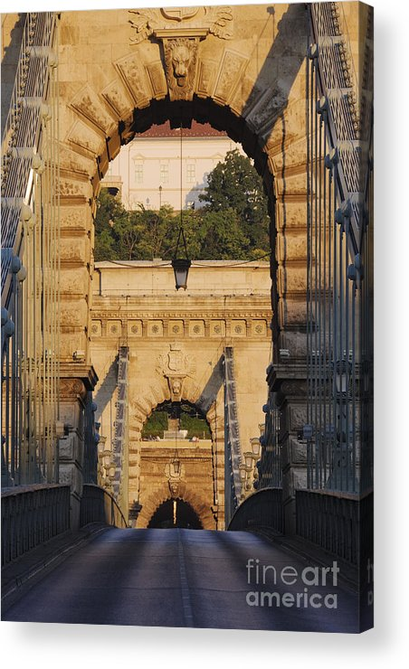 Arched Acrylic Print featuring the photograph Empty Stone Bridge by Jeremy Woodhouse