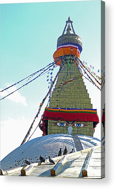 Buddhism Acrylic Print featuring the photograph Eyes Of The Boudhanath Stupa Nepal by Louise Peardon