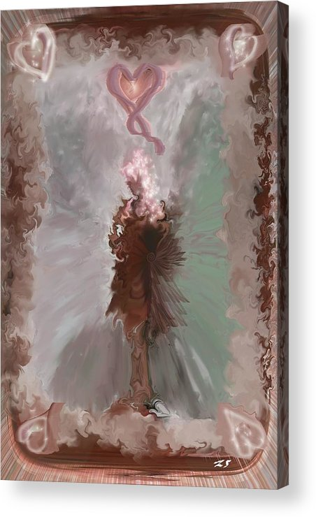 Fantasy Art Acrylic Print featuring the digital art Fantasy Girl by Linda Sannuti