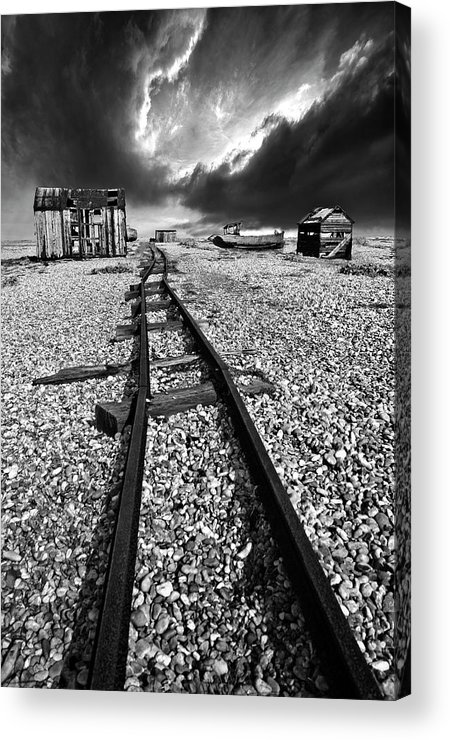 Black And White Acrylic Print featuring the photograph Fishing Boat Graveyard 6 by Meirion Matthias