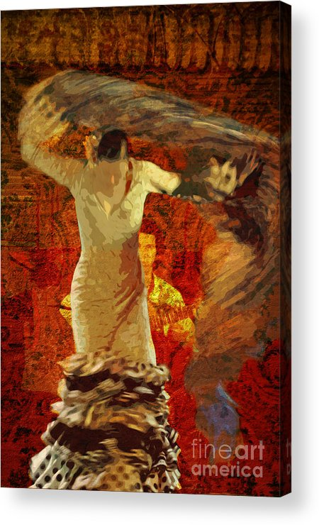 Flamenco Acrylic Print featuring the photograph Flamenco Series No 2 by Mary Machare