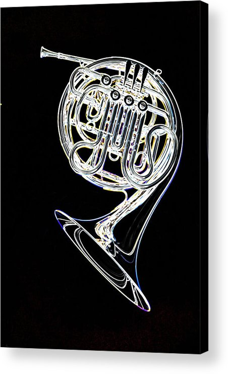 French Horn Acrylic Print featuring the photograph French Horn Color Photo Drawing by M K Miller