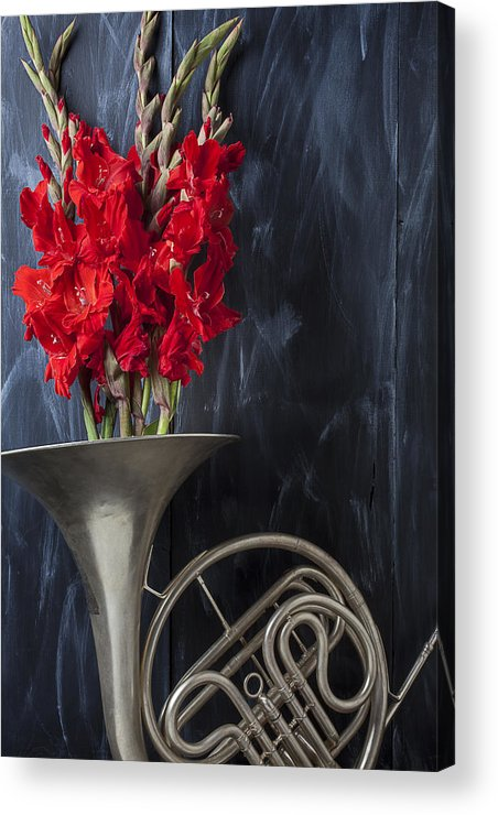 French Horn Acrylic Print featuring the photograph French Horn With Gladiolus by Garry Gay