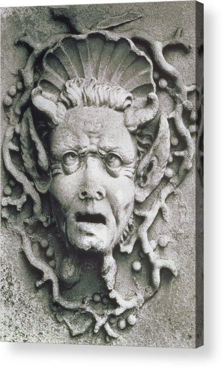 Grotesque; Monster; Monstrous; Head; Face; Sea Creature; Scallop Shell; Fantastical; Coral; Seaweed; Witch; Screaming; Bizarre; Horns; Pointed Ears; Demon; Siren; Cross-eyed; Mermaid Acrylic Print featuring the photograph Gargoyle by Simon Marsden