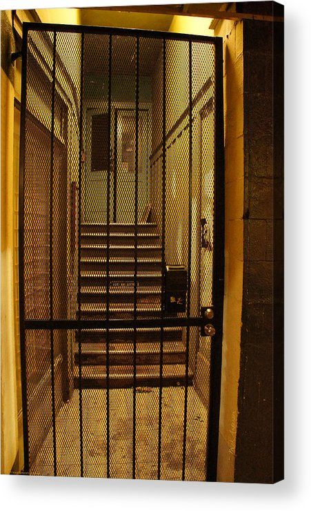 Gated Acrylic Print featuring the photograph Gated Stairwell At Night by Mick Anderson