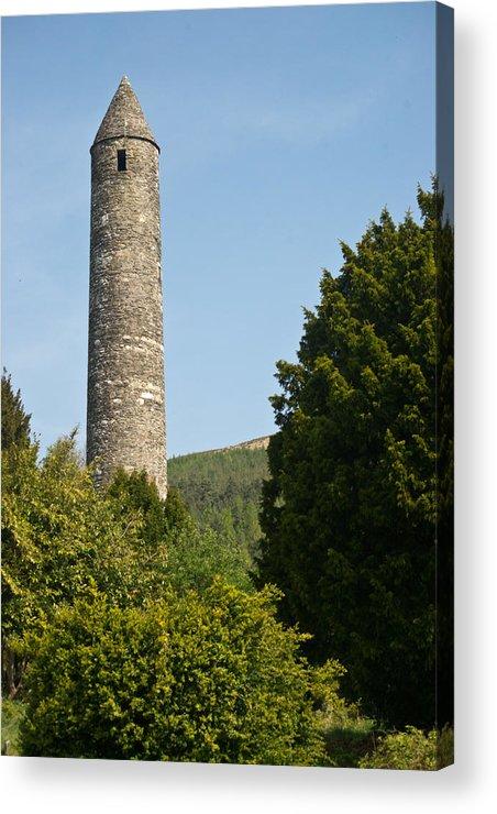 Round Acrylic Print featuring the photograph Glendalaugh Round Tower 10 by Douglas Barnett