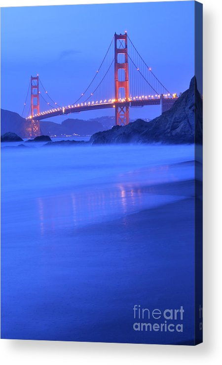 Landscape Acrylic Print featuring the photograph Golden Gate At Dusk Portrait by Kim Frank