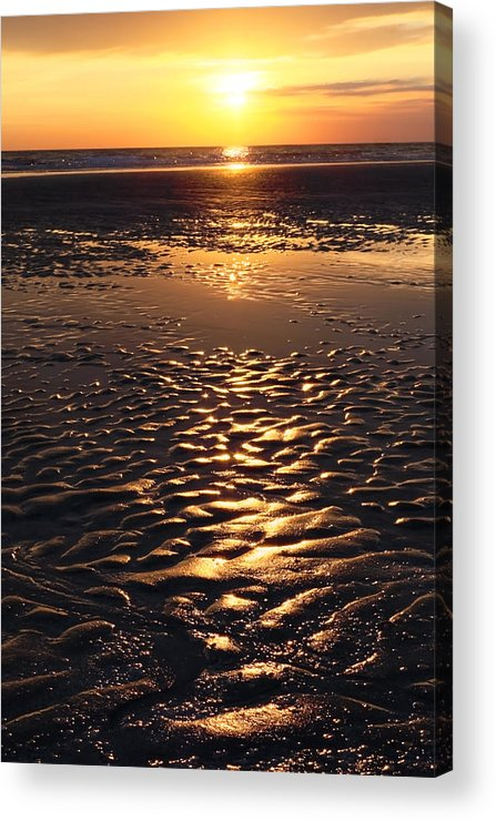 Abstract Acrylic Print featuring the photograph Golden Sunset On The Sand Beach by Setsiri Silapasuwanchai