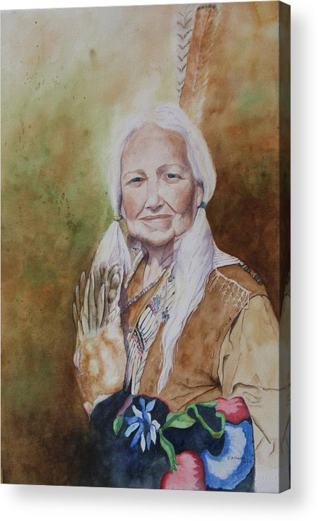 Native American Spirit Portrait Acrylic Print featuring the painting Grandmother Many Horses by Patsy Sharpe