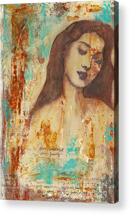 Mixed Media Acrylic Print featuring the painting Grunge Ghost by Kristen Watts