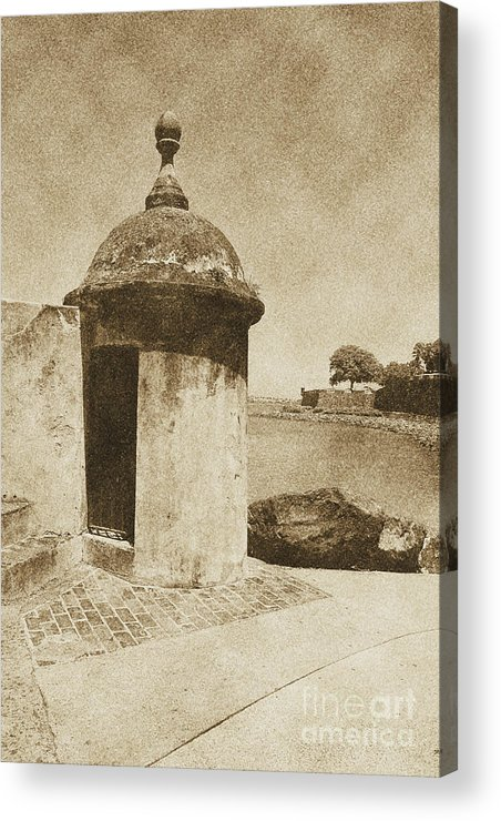 El Morro Acrylic Print featuring the digital art Guard Post Castillo San Felipe Del Morro San Juan Puerto Rico Vintage by Shawn O'Brien