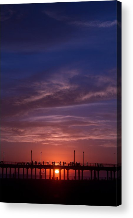 Sunset Acrylic Print featuring the photograph Huntington Beach Pier by Dina Calvarese