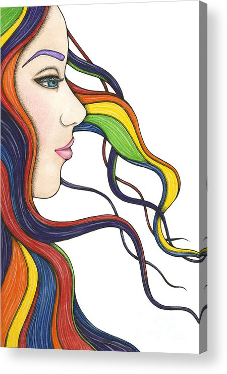 Portrait Acrylic Print featuring the painting I Am My Own Rainbow by Nora Blansett