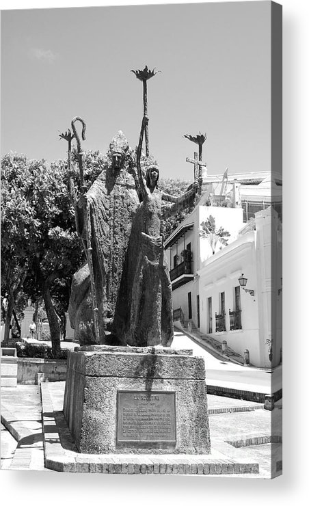 Old San Juan Acrylic Print featuring the photograph La Rogativa Sculpture Old San Juan Puerto Rico Black And White by Shawn O'Brien
