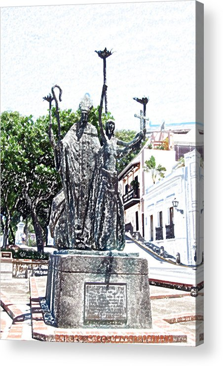 Old San Juan Acrylic Print featuring the digital art La Rogativa Sculpture Old San Juan Puerto Rico Colored Pencil by Shawn O'Brien