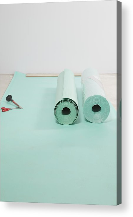 Nobody Acrylic Print featuring the photograph Laying A Floor. Rolls Of Underlay Or by Magomed Magomedagaev