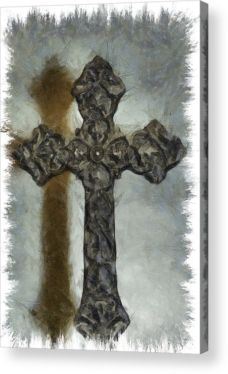 Faith Acrylic Print featuring the mixed media Lead Me To The Cross 1 by Angelina Vick