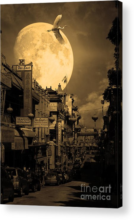Black And White Acrylic Print featuring the photograph Legend Of The Great White Phoenix Of Chinatown . 7d7172 . Sepia by Wingsdomain Art and Photography