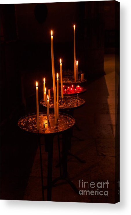 Candles Acrylic Print featuring the photograph Lit Candles In A Church by Louise Heusinkveld