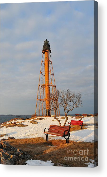 Marblehead Light Is Located On Marblehead Neck In Essex County Acrylic Print featuring the photograph Marblehead Light by Catherine Reusch Daley